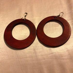 Jewelry - Red Wooden Hoop Earrings